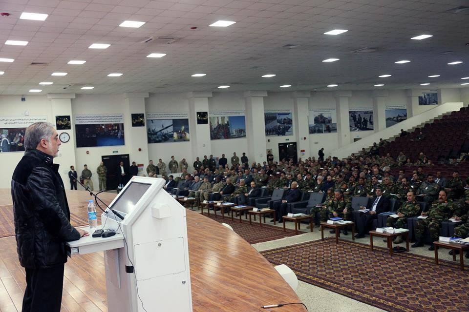 رییس اجراییه کشور در کنفرانس مشترک رهبری نیروهای امنیتی: در صفوف خویش اجازۀ فعالیت سیاسی، جناحی، گروهی و قومی را ندهید