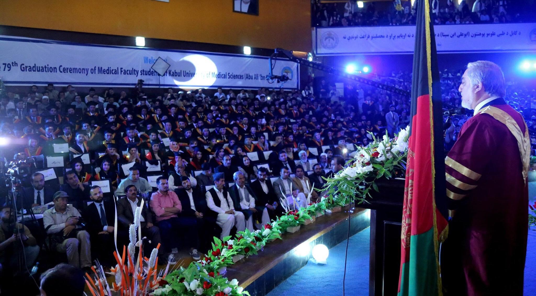 اشتراک وسخنرانی دکتور عبدالله عبدالله رئیس اجرائیه درهفتادونهمین دور فراغت محصلین دانشگاه طبی کابل