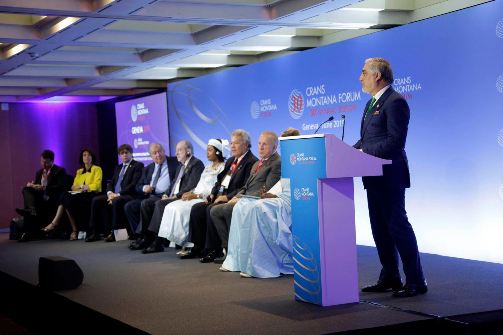 سخنرانی رییس اجراییه در سیامین اجلاس کران مونتانا در سویس: دست یافتن به صلح و توسعه نیازمند احترام متقابل است